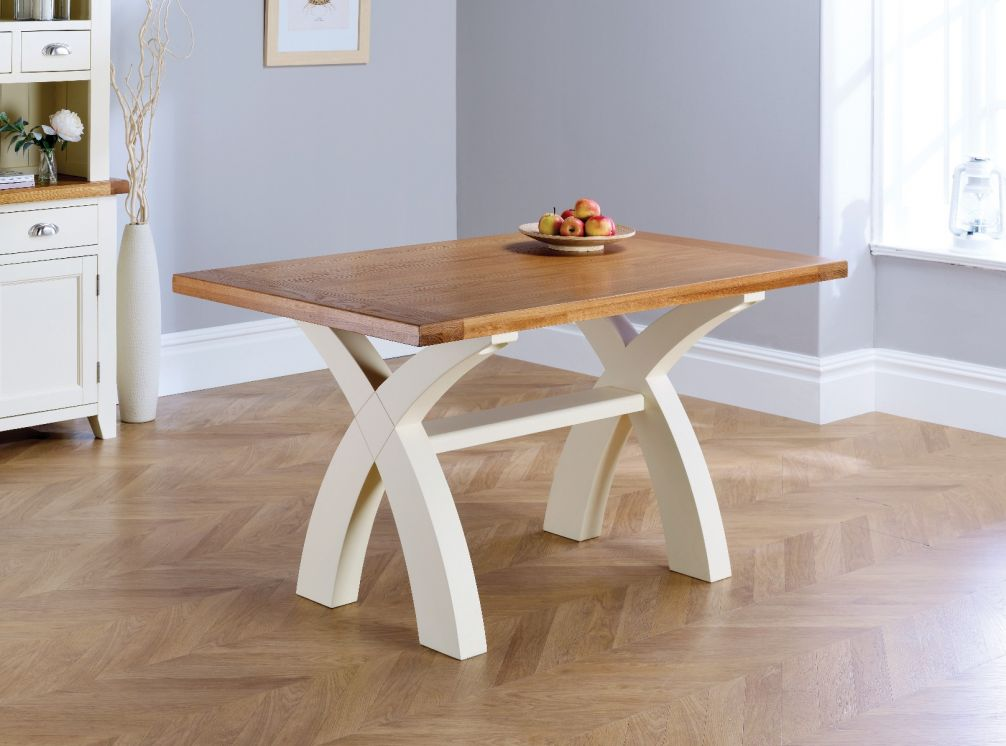 Super Country Oak 140Cm Cream Painted Cross Leg Square Ended Dining Table Interior Design Ideas Tzicisoteloinfo