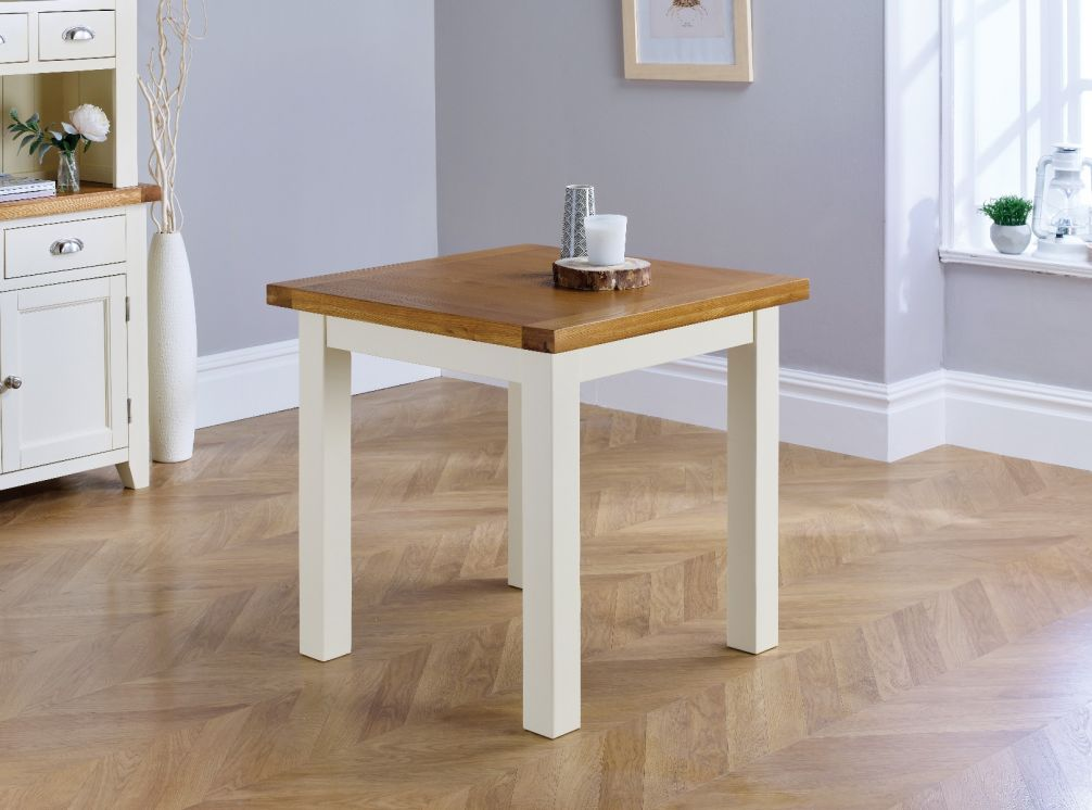 Small Cream Painted Square Oak Dining Table - Free ...