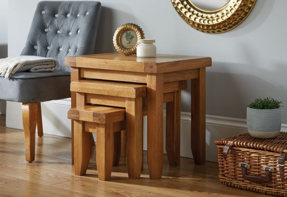 Admirable Country Oak Nest Of Three Tables Black Friday Sale Machost Co Dining Chair Design Ideas Machostcouk