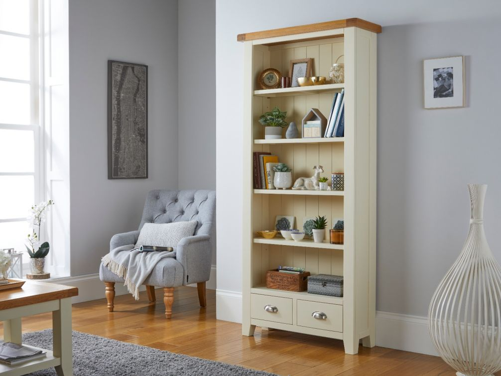 Country Cottage Cream Painted Tall Oak Bookcase with Drawers and adjustable Shelves