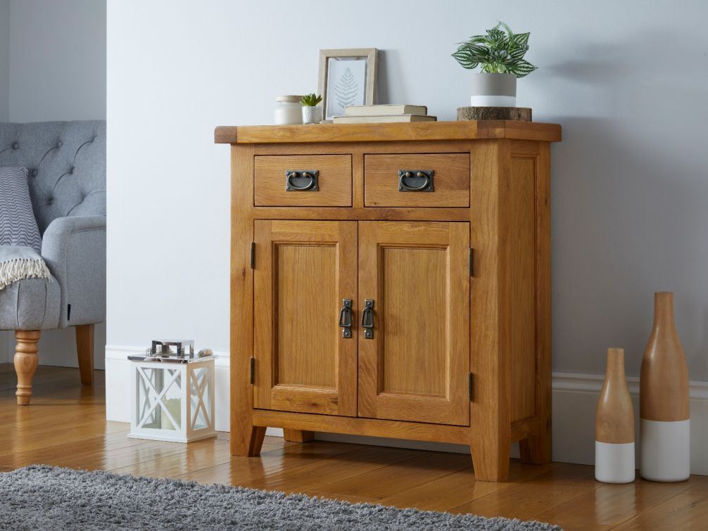 Country Oak 80cm Small Compact Sideboard for storage