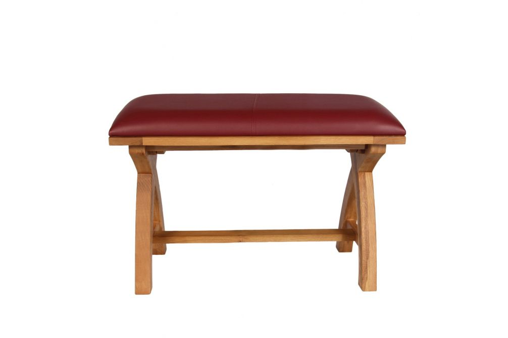 Amazing Country Oak 80Cm Red Leather Cross Leg Dining Bench Autumn Sale Short Links Chair Design For Home Short Linksinfo