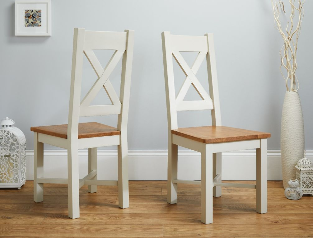 official photos 1b7d0 96526 Grasmere Cross Back Grey Painted Chair With Solid Oak Seat