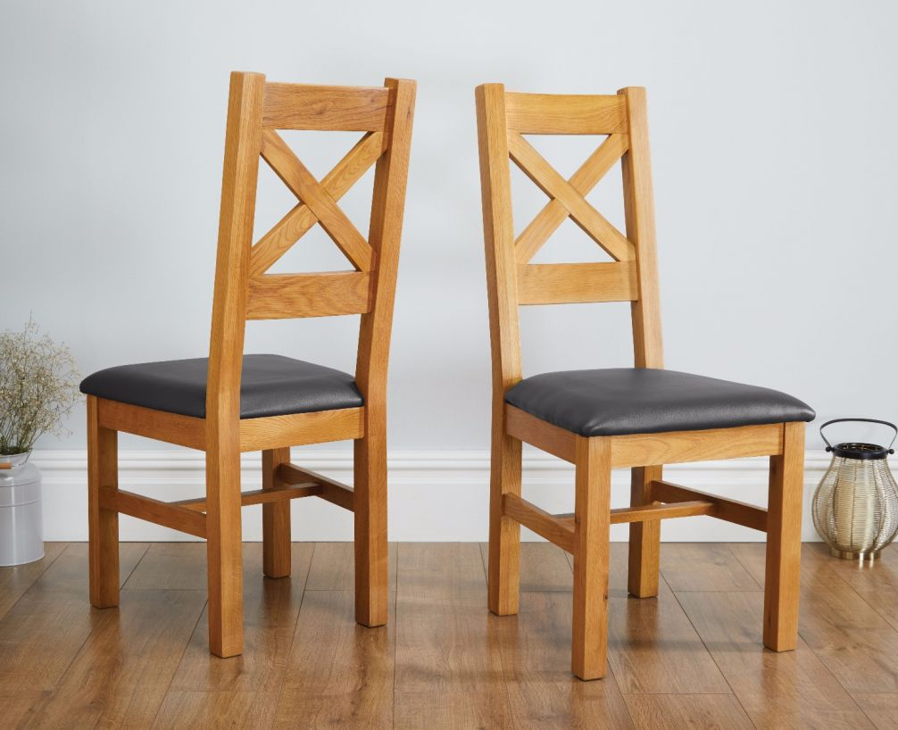 Remarkable Windermere Cross Back Oak Chair With Black Leather Seat Alphanode Cool Chair Designs And Ideas Alphanodeonline