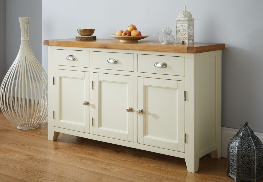 Country Cottage 140cm Cream Painted Large Oak Sideboard Winter Sale