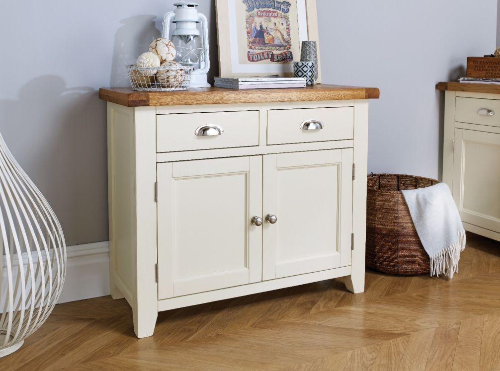 Country Cottage 100cm Cream Painted Oak Sideboard Winter Sale