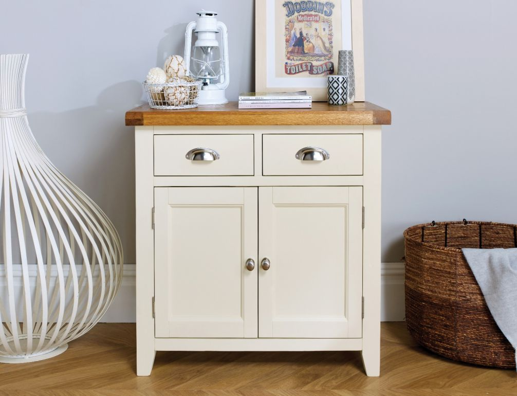 Country Cottage 80cm Cream Painted Small Oak Sideboard Winter Sale