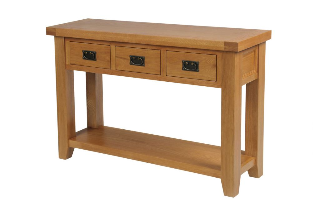 Amazing Country Oak 3 Drawer Console Table Interior Design Ideas Oxytryabchikinfo