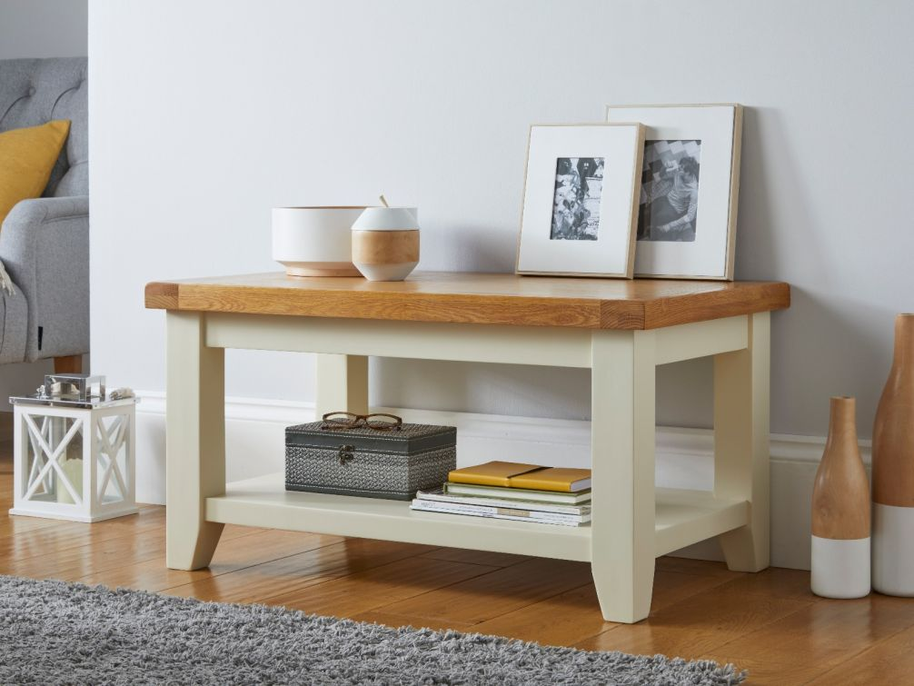 Country Cottage Cream Painted Oak Coffee Table with Shelf