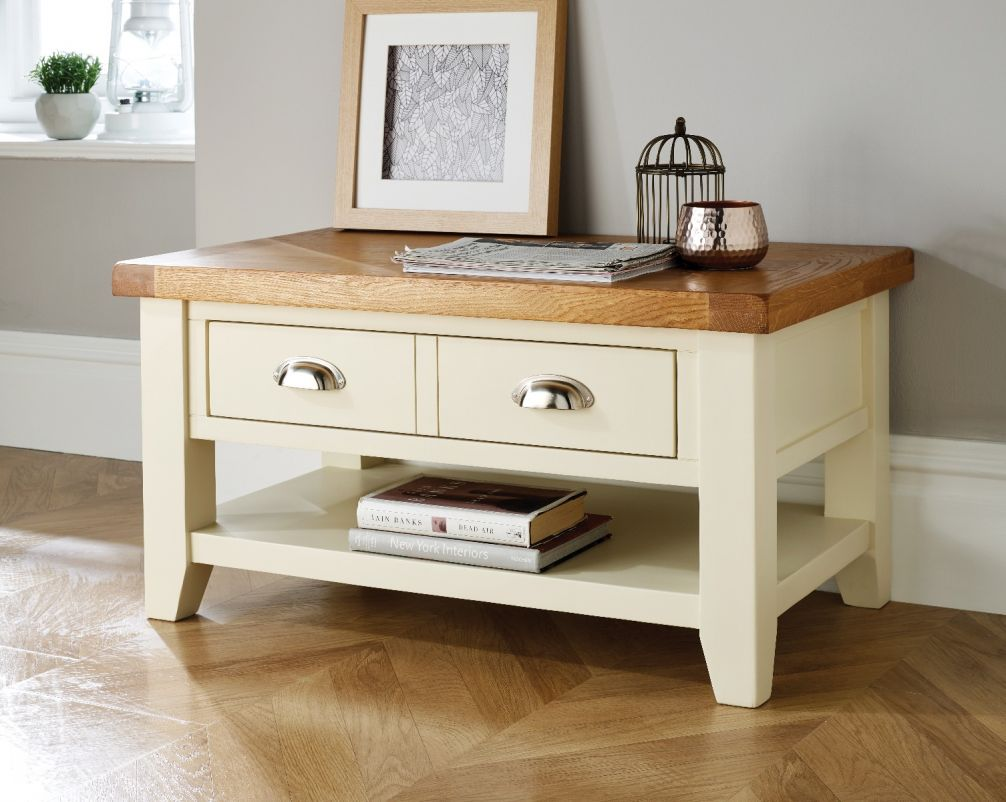 Country Cottage Cream Painted Oak Coffee Table With Drawers Winter Sale