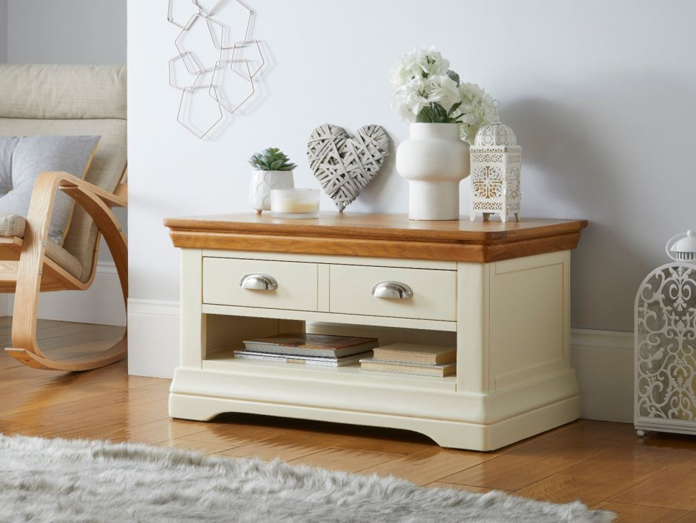 Farmhouse Cream Painted Oak Coffee Table with Drawers and shelf