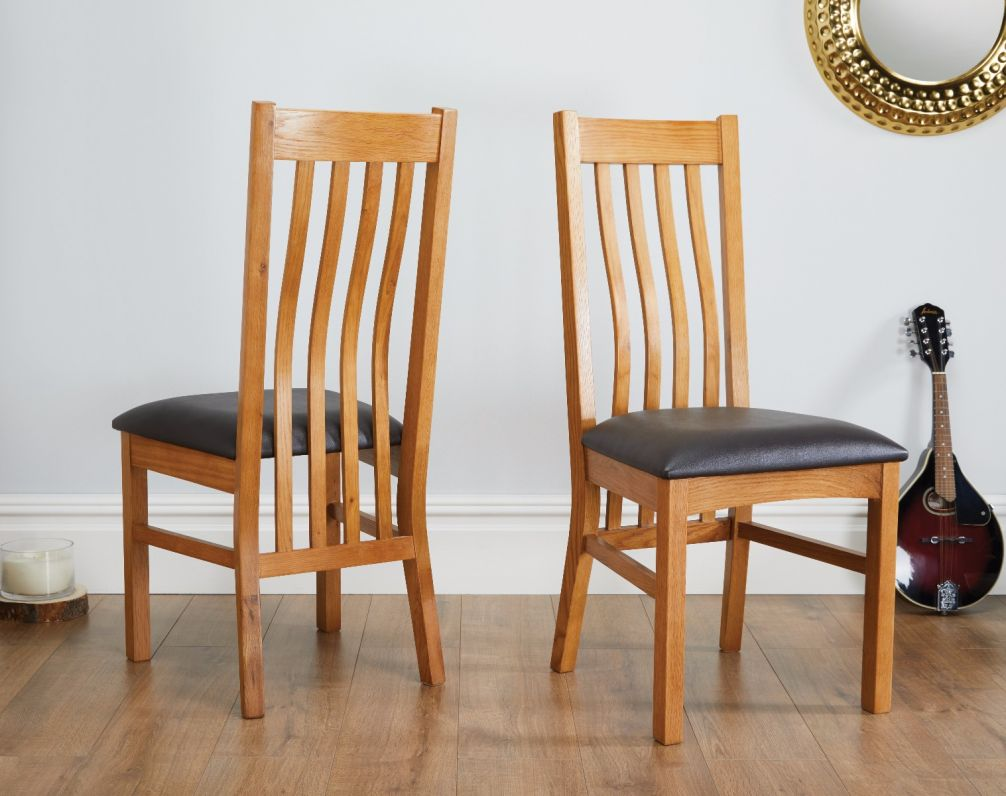 Top Furniture Ltd & Chelsea Oak Dining Chair Brown Leather Pad