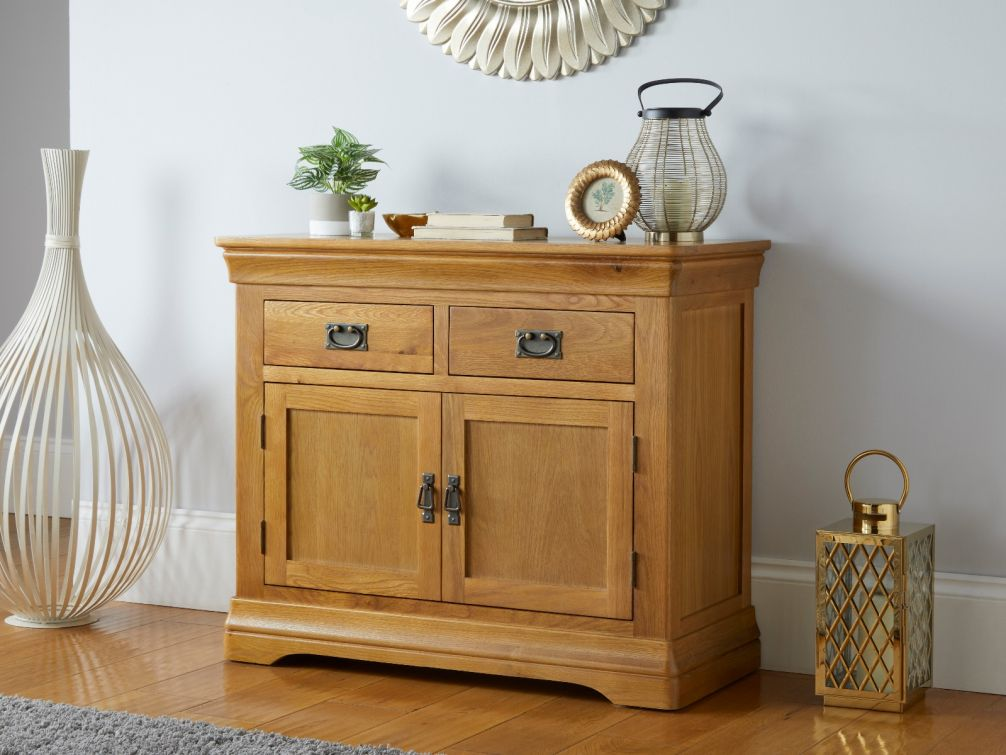 Farmhouse 100cm Oak Sideboard 2 Doors & Drawers