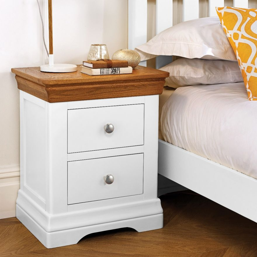 the latest bcc34 14174 Farmhouse White Painted 2 Drawer Oak Bedside Table - AUTUMN SALE