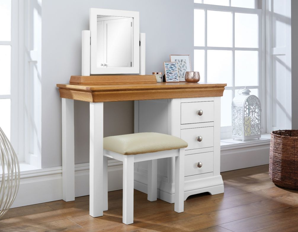 huge selection of dfb17 d04ae Farmhouse White Painted Oak Dressing Table Mirror Stool Set