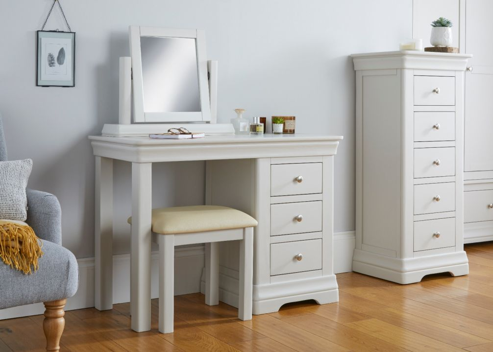 Toulouse Grey Painted Dressing Table Mirror Stool Set