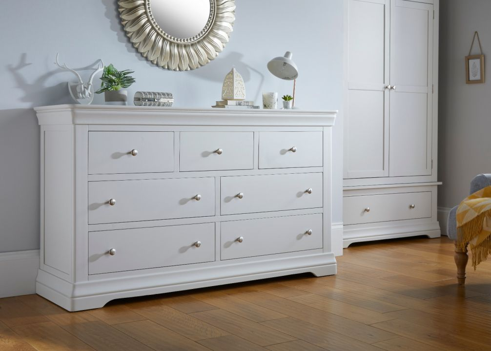 Toulouse Grey Painted Extra Large Grande 3 Over 4 Chest of Drawers