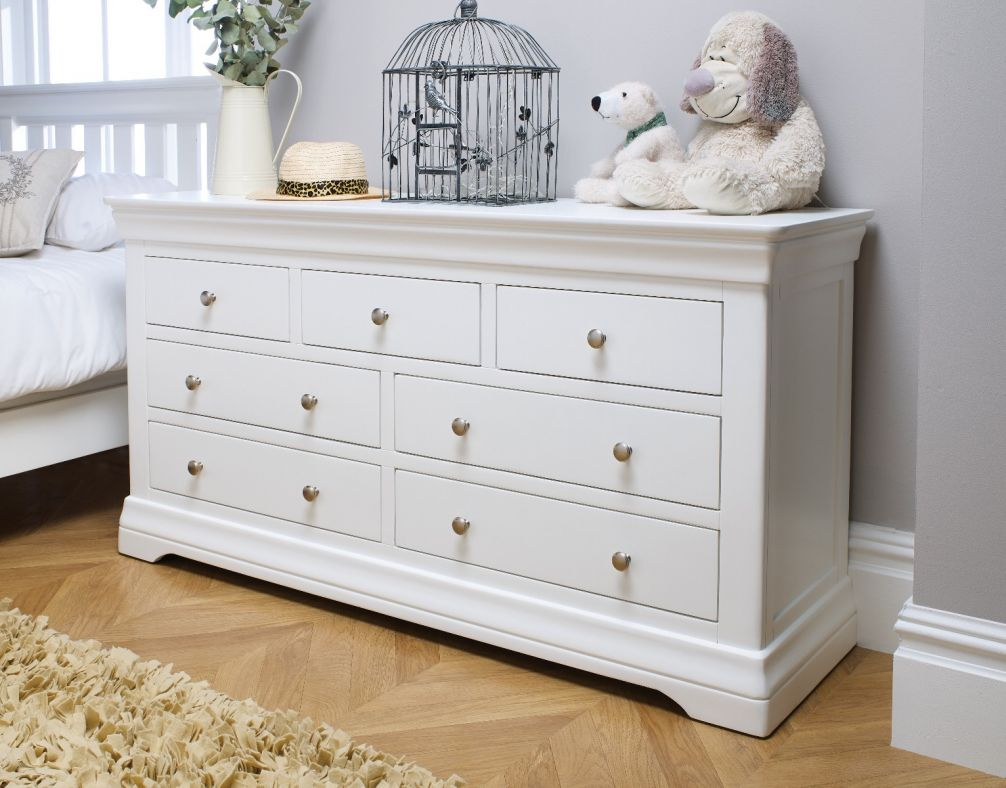 Toulouse White Painted Large 3 Over 4 Chest of Drawers