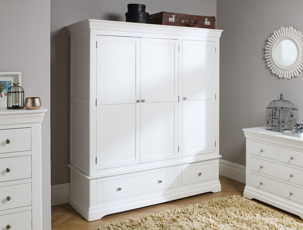 Farmhouse White Painted Triple Wardrobe With Drawer