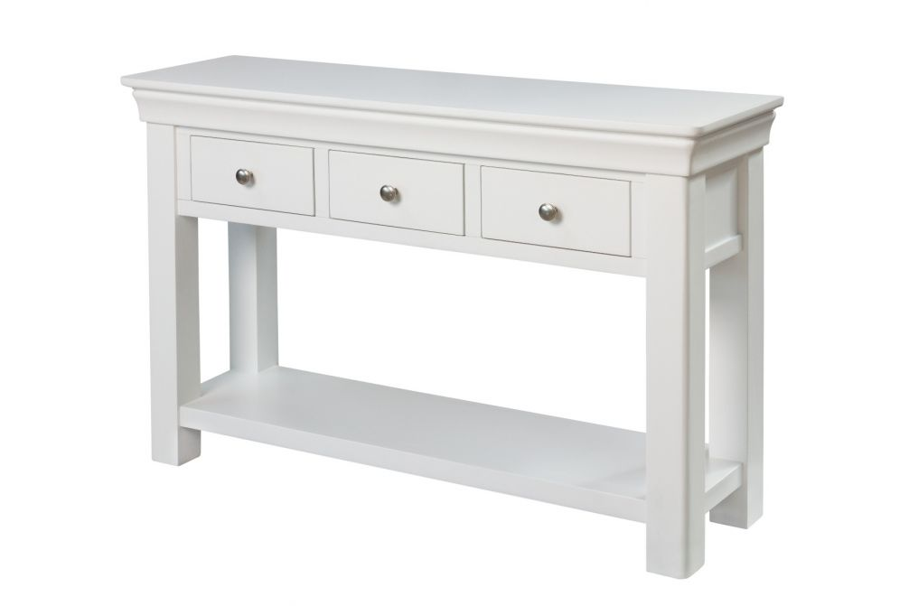 Toulouse White Painted 3 Drawer Large Console Table