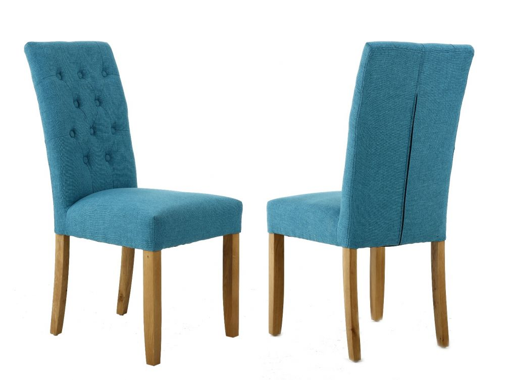 Kensington Teal Fabric Dining Chair With Oak Legs