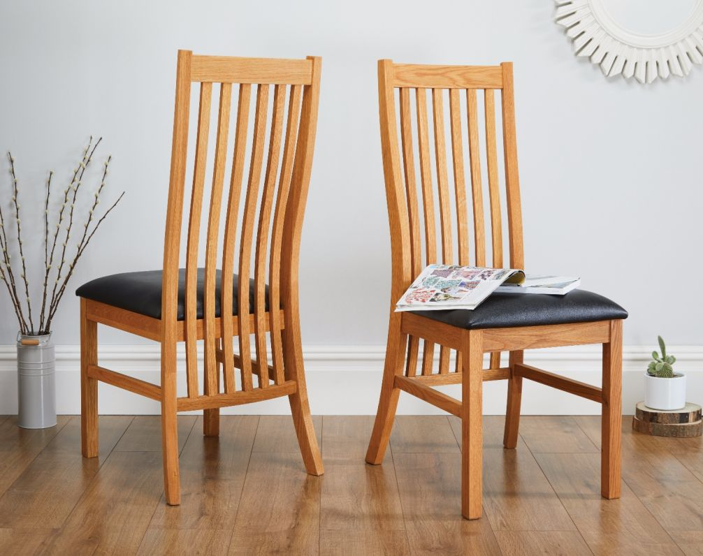 Lichfield Solid Oak Dining Chair Black Leather