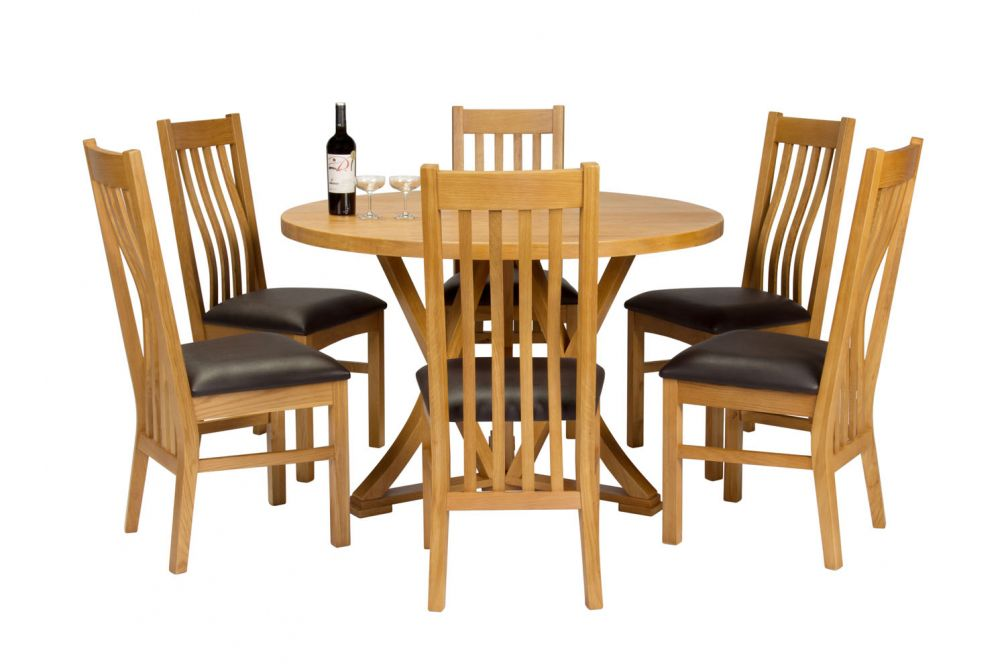 new style f4066 73e7e Country Oak 120cm Round Dining Table 6 Chelsea Brown Leather Oak Chair Set