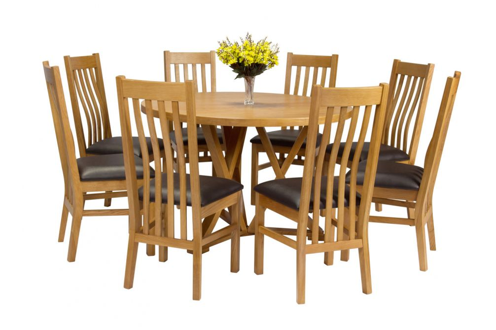 Country Oak 120cm Round Dining Table 8 Chelsea Brown Leather Oak Chair Set