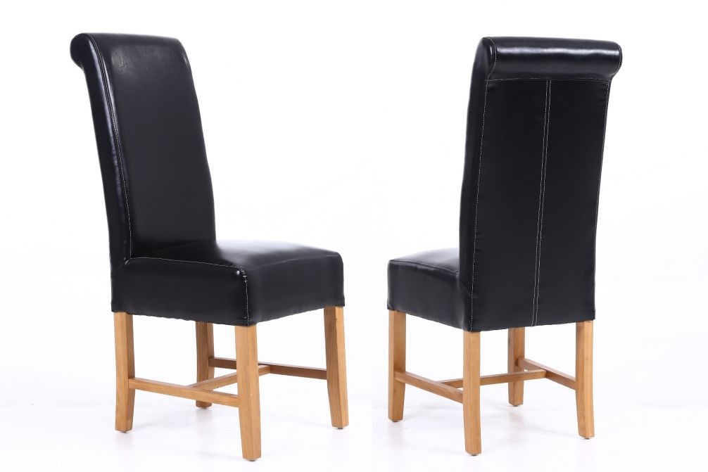 Awesome Titan Black Leather Scroll Back Dining Chairs With Oak Legs Autumn Sale Andrewgaddart Wooden Chair Designs For Living Room Andrewgaddartcom