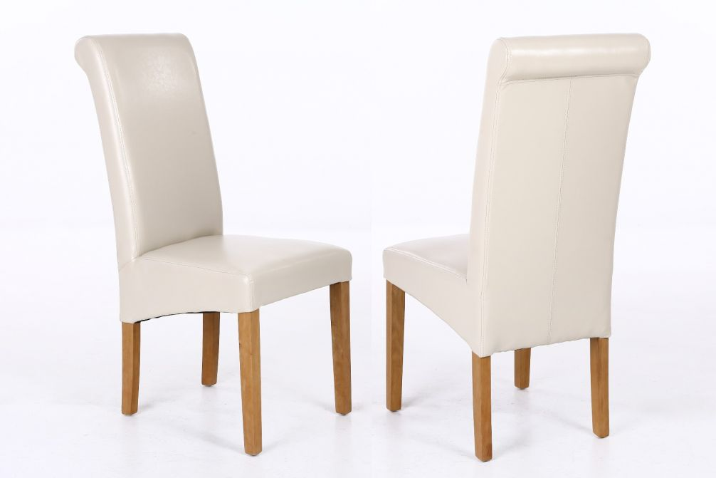 Tuscan Cream Leather Scroll Back Dining Chairs Oak Legs January Sale