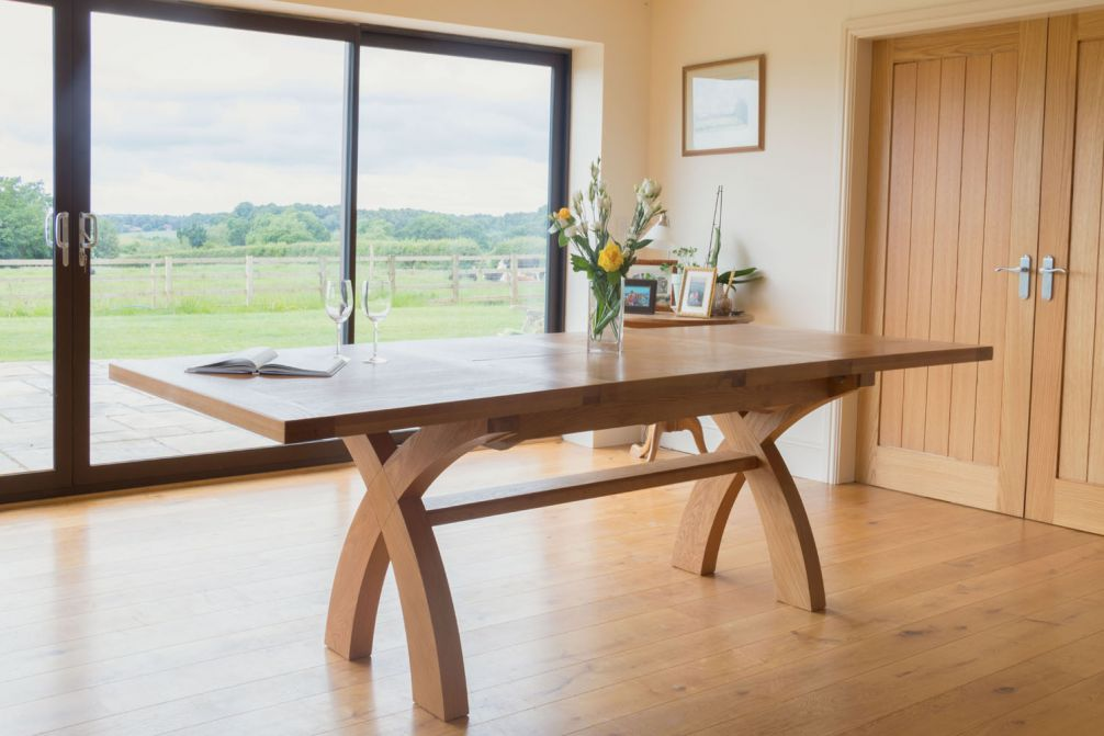 Outstanding Country Oak 2 8M X Leg Double Extending Large Dining Table Square Ends Price Crunched Interior Design Ideas Tzicisoteloinfo