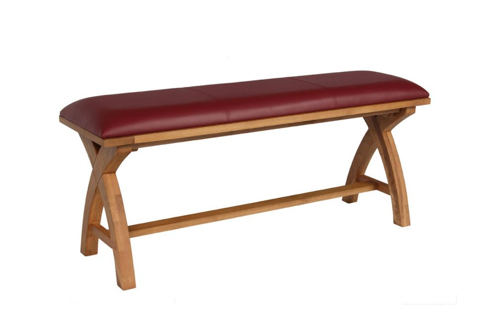 Cool Red Leather Dining Bench 120Cm Cross Leg Country Oak Design Autumn Sale Short Links Chair Design For Home Short Linksinfo