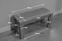 Baltic 150cm Long Solid Oak Dining Bench Standard Legs