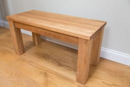 Baltic 180cm Long Premium Large Solid Oak Wooden Bench Std Leg