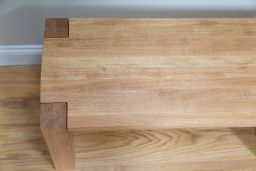 Baltic Solid Wooden Oak 120cm Long Solid Bench With Corner Legs