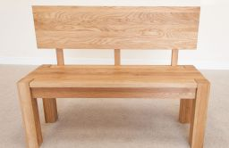 Baltic 120cm Solid Oak Bench with Back Rest
