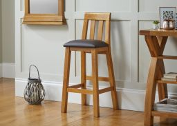 Billy Tall Oak Bar Stool in Brown Leather