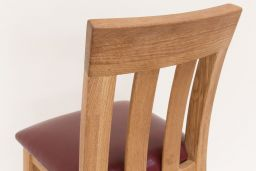 Billy Bar Stool Solid Oak Claret Red Leather