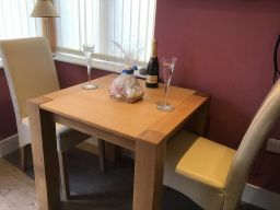 Cambridge Small Square Oak Dining Table, 80cm x 80cm - customer dining room photo with chairs