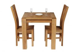 Cambridge 80cm Oak Table 2 Churchill Oak Seat Chair Set