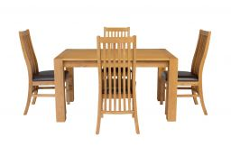 Cambridge 140cm Oak Table 6 Lichfield Brown Leather Chair Set