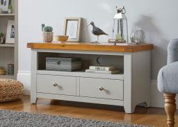 Cheshire Grey Painted 95cm Wide Oak TV Unit with Drawer