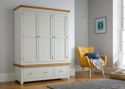 Cheshire Grey Painted Oak Triple Wardrobe with Drawers