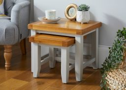 Cheshire Grey Painted Oak Nest of Two Tables / Side Tables