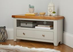 Cheshire Grey Painted Oak Corner TV Unit with Drawer