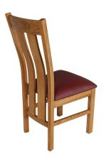 Red Leather Churchill Solid Oak Dining Room Chair