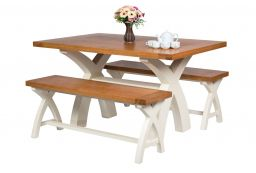 Country Oak 140cm Cream Painted Cross Leg Square Ended Dining Table
