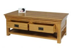 Farmhouse Country Oak Large Coffee Table With Shelf