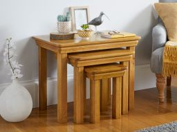 Farmhouse Large Oak Nest of Three Tables