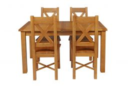 Country Oak 180cm Extending Oak Table & 4 Grasmere Timber Seat Chair Set